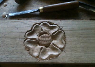 Tudor Roses made in Oak for staircase detail.SASPOONER