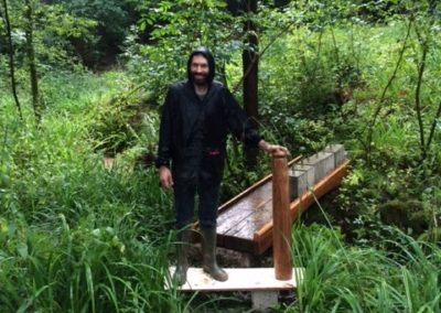 Stephen enjoying the chance to get of of the workshop, he is standing on the mock up step and post.  SASPOONER
