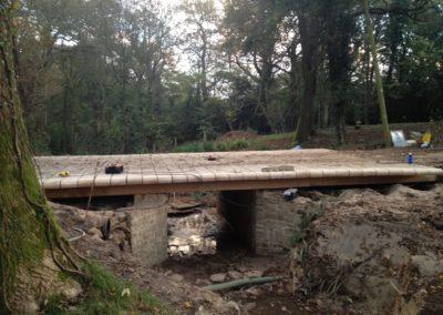 The bridge Oak deck in the process of being detailed by sculpting the end grain of each Oak plank.  SASPOONER