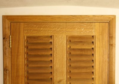 Oak Louvered door set made to cover boiler room with in the clients home. SASpooner