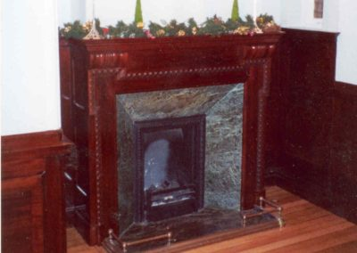 The finished Mahogany fire surround fitted back in the clients home. SASPOONER