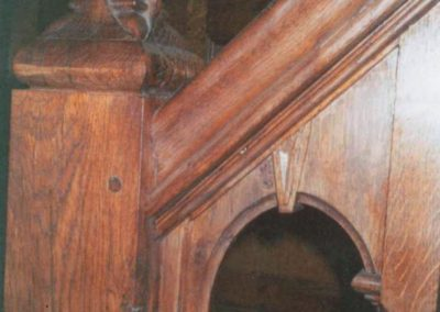 Newel post close up detailing the key stone and archway. SA Spooner