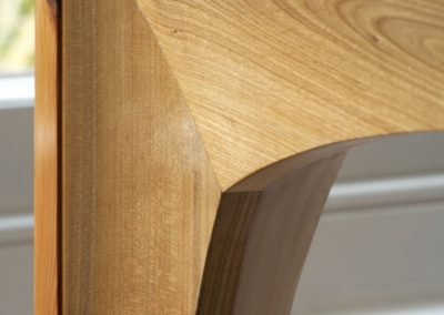 Yew wood and Cherrywood corner detail showing the curved apron.  SASPOONER