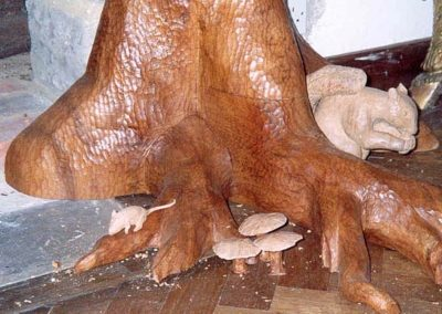 A close up of the carved animals which were life size,carved in Oak. SASPOONER