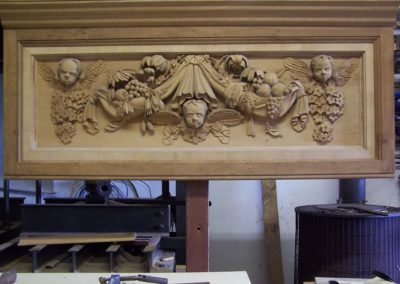 A copy of a stone window cill at St Pauls London. Carved in Lime with an Oak frame. SASPOONER