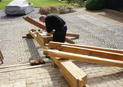 Oak beam timber framing made for Staircase project. SA Spooner