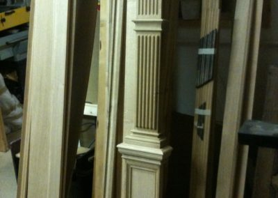 Oak Pilaster with Fluted and Nulling detail with cross grained mouldings. SA Spooner