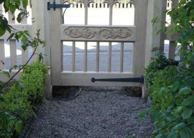 Vine Cottage gate on viewed from the private side. SASPOONER