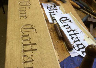 Letter carving for our Vine Cottage project.SASPOONER
