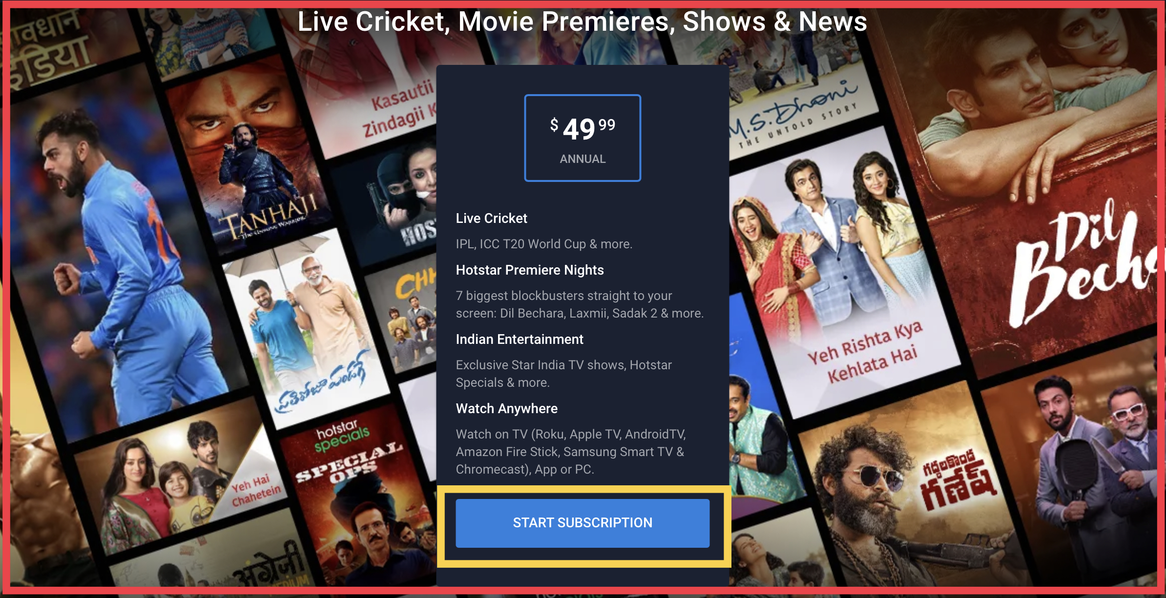 Hotstar subscription package