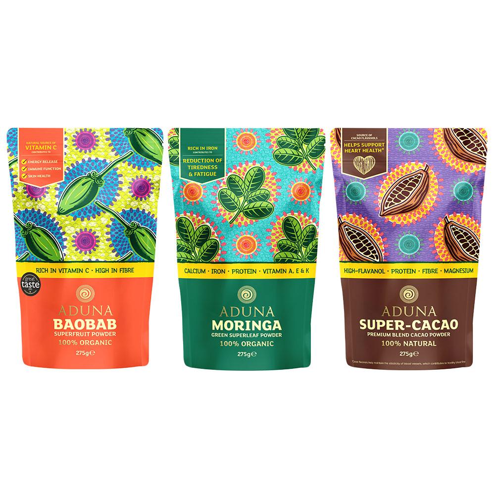 Aduna Baobab, Moringa & Super-Cacao Powders (Large)