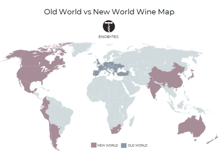 old world vs new world wines map