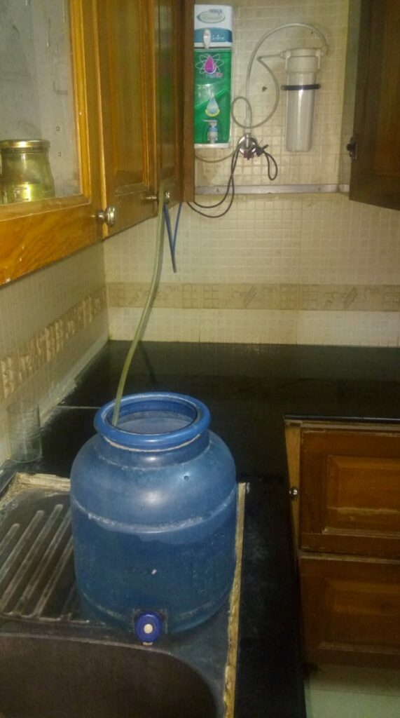 Waste water of RO or water purifier collected in dispenser