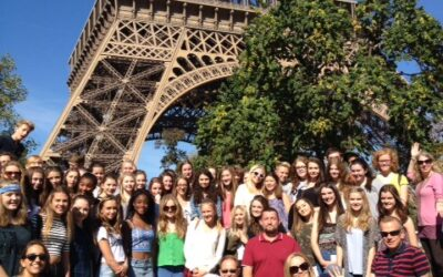 Picnic lunch under the Eiffel Tower