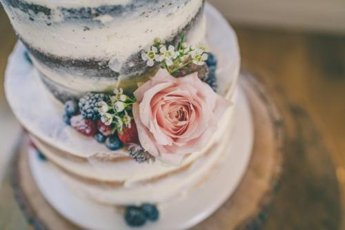 Semi Naked Wedding Cake - Image by Cotswold Pictures