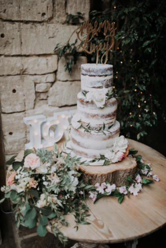 3 Tier Semi Naked Cake -Image Credit: Mindy Coe Photography