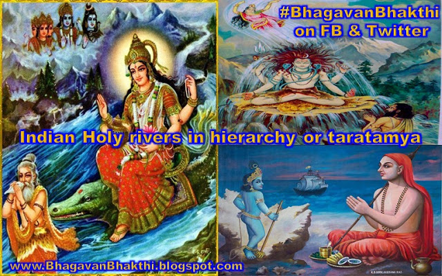 What are the names of Indian Holy rivers and it's hierarchy or taratamya