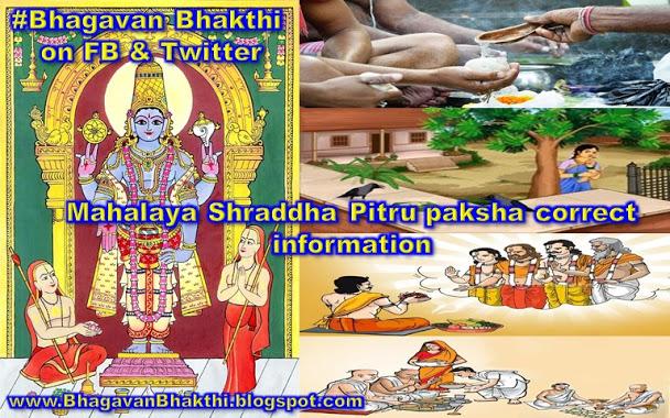 What is Mahalay Shraddh, Pitru paksh, correct information