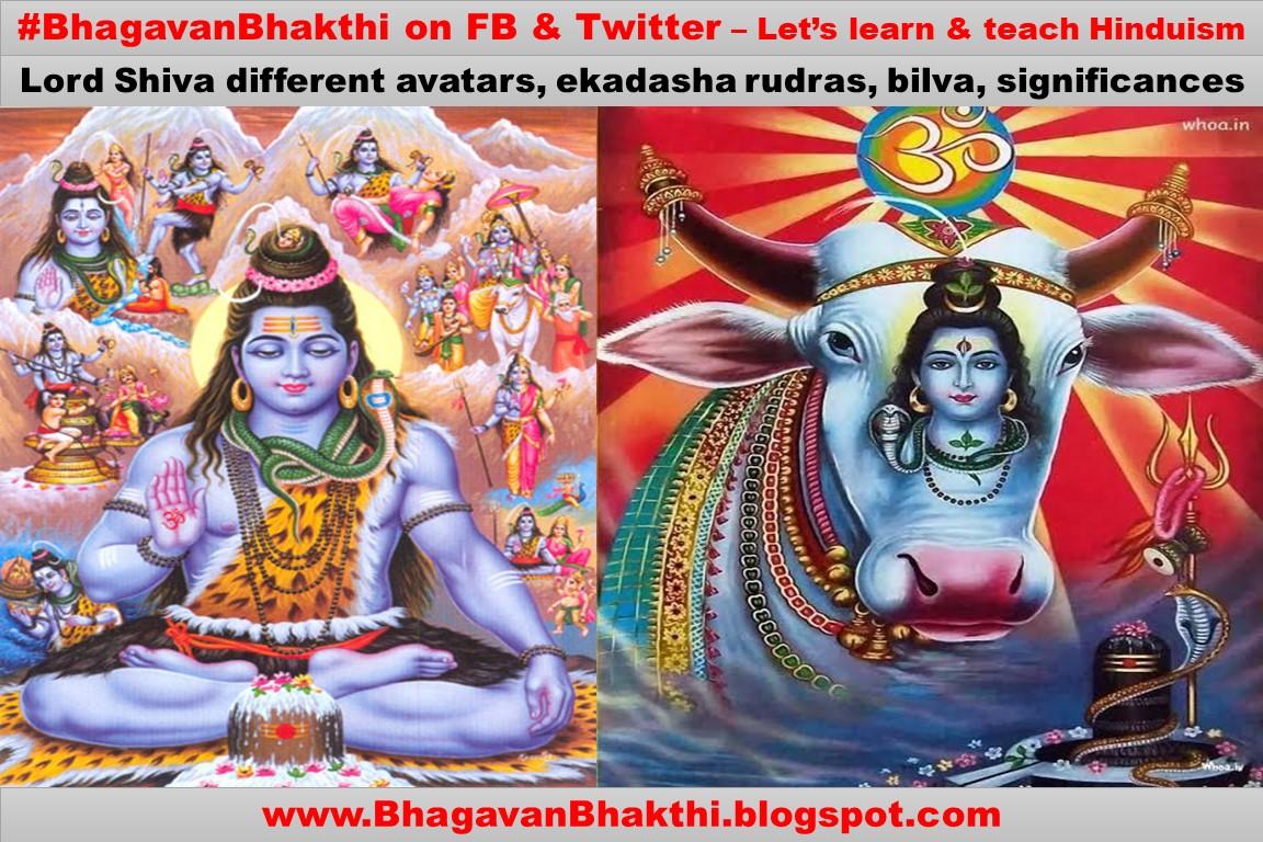 What are Lord Shiva different avatars, ekadasha rudras, bilva, significance