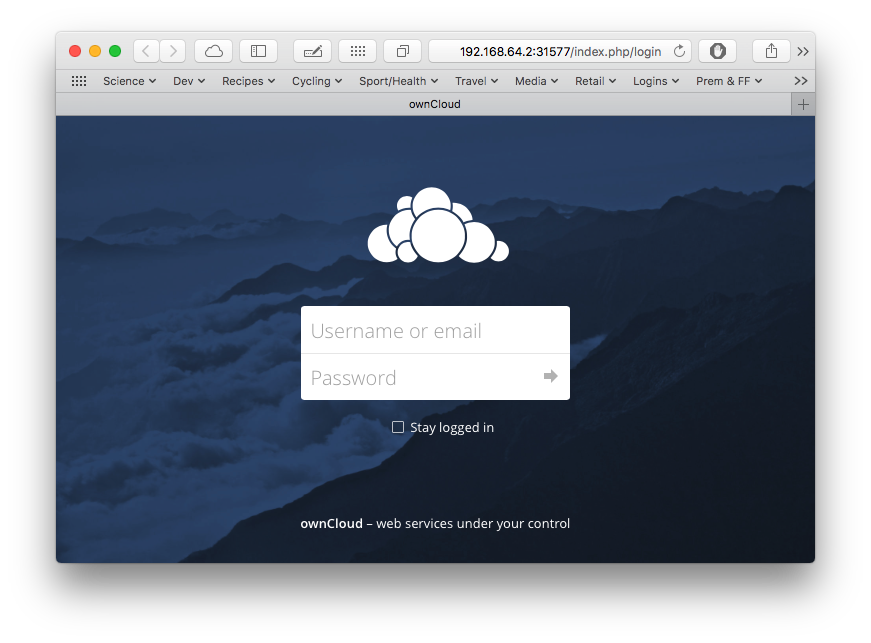 Expected ownCloud log in page