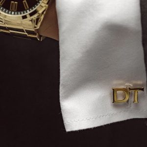 2 Initials Cufflinks - Gold Close 2