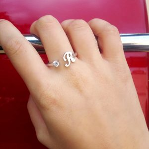 Initial Ring in Rose Gold R