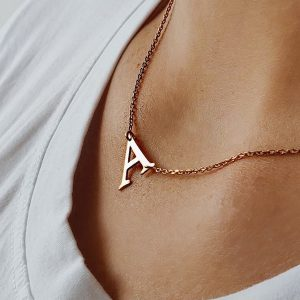 Sideways Inital Necklace in Rose Gold