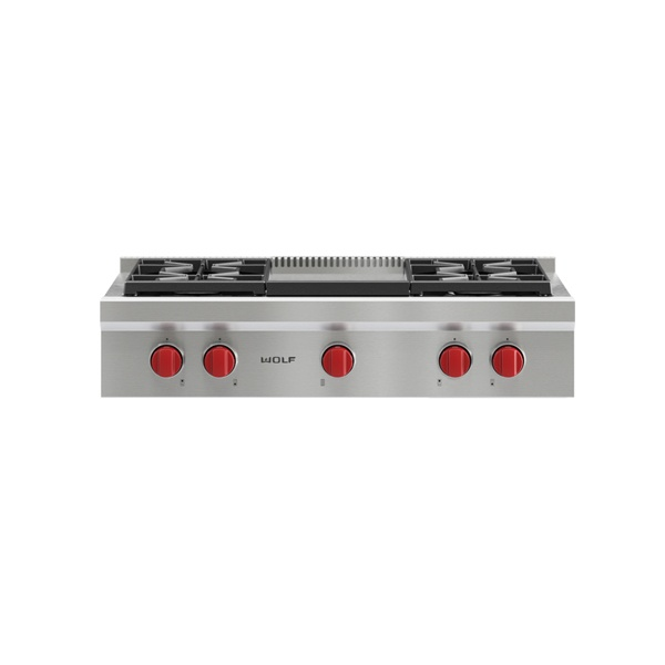 wolf - ICBSRT364G-914MM-SEALED-BURNER-RANGETOP-WITH-4-BURNERS-AND-GRIDDLE_TEPPAN-YAKI