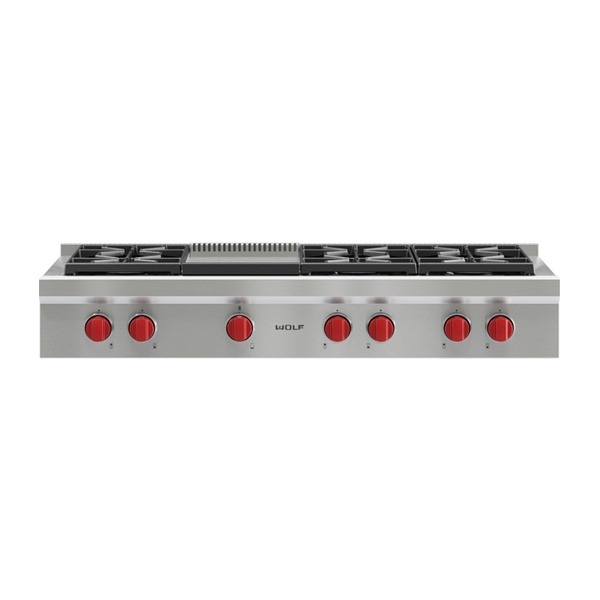 wolf - ICBSRT486G-1219MM-SEALED-BURNER-RANGETOP-WITH-6-BURNERS-AND-GRIDDLE_TEPPAN-YAKI