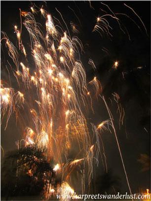 Fireworks lighting up the 2012 sky, bringing in 2013