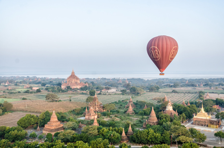 Flying high above the Temples of Bagan in a Hot Air Balloon