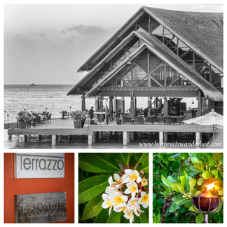 Fudaan, over the water with beautiful frangipani and oil lamps