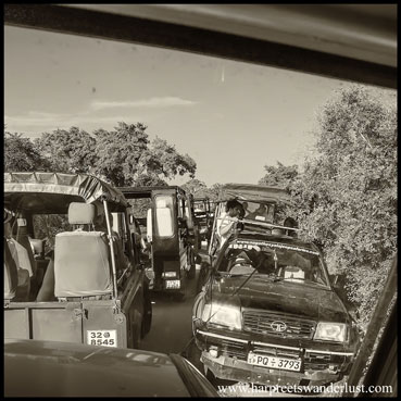 The traffic jam caused by the jeeps.
