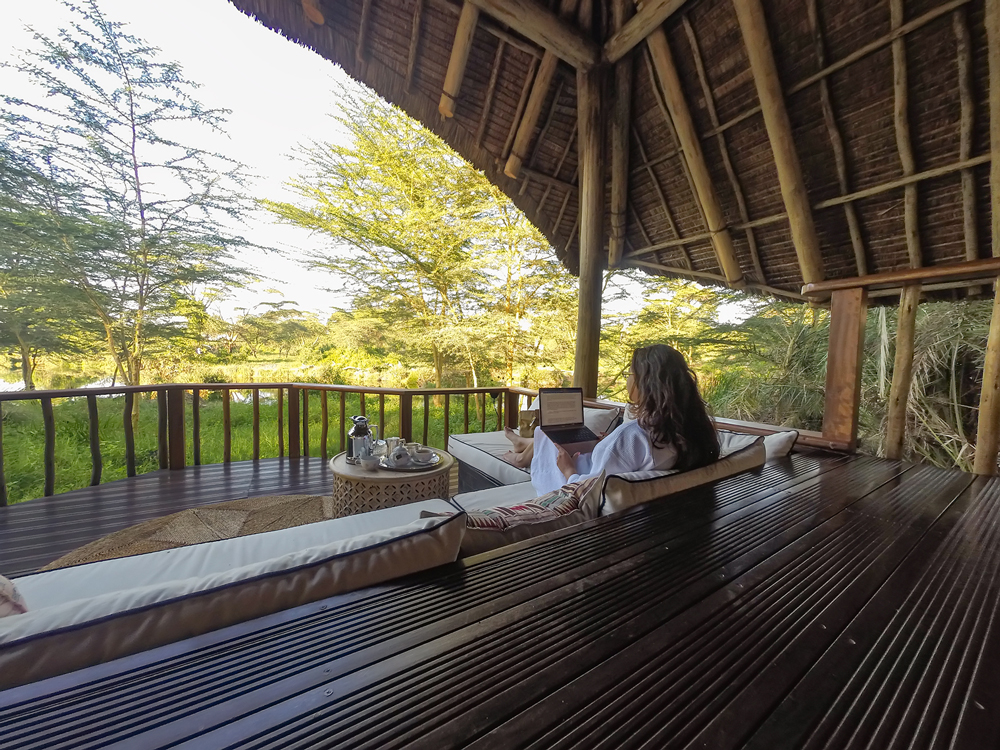 Dreaming away on the deck at Finch Hattons Luxury Camp
