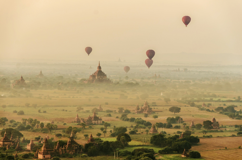 Soaring over the spires of temples in Bagan