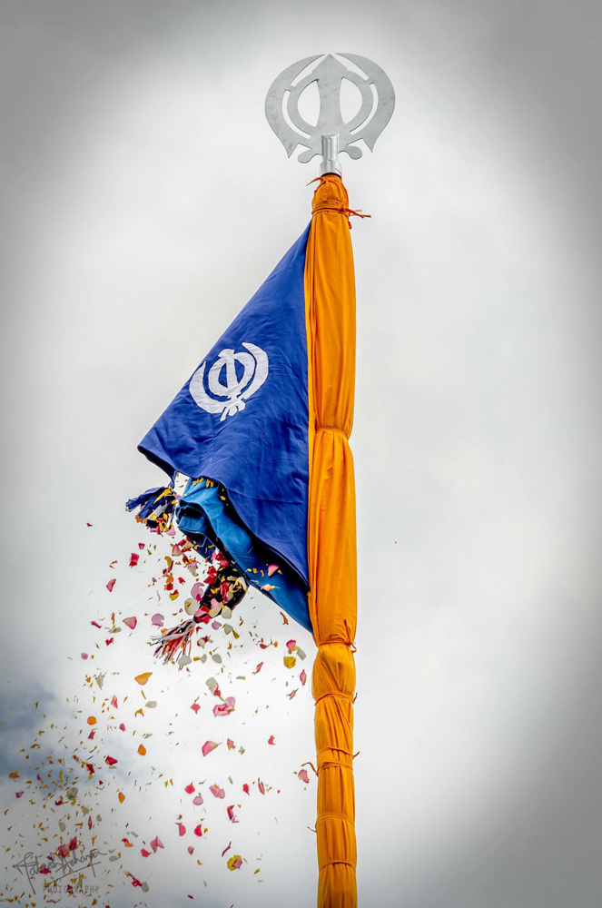 The Sikh Flag flying in all its glory, at the Sikh Temple Nanyuki