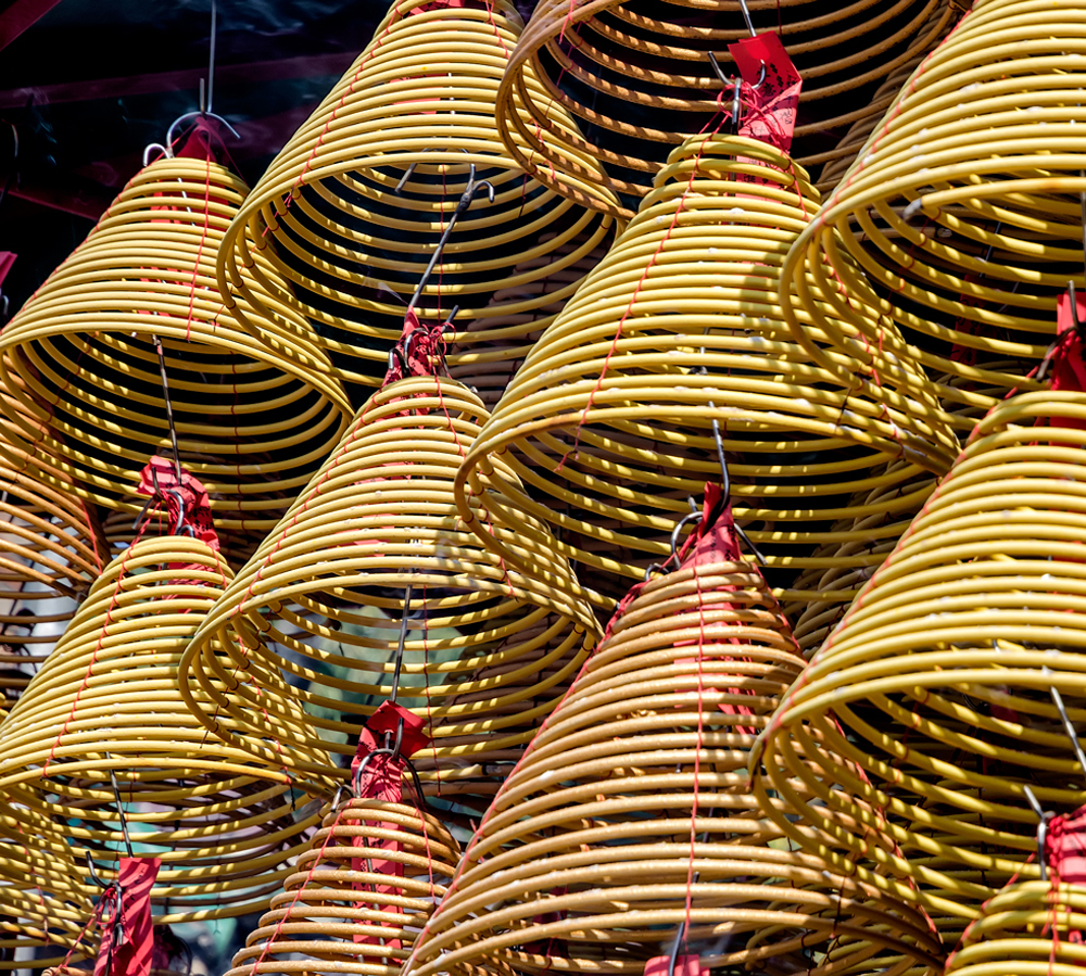 Coils of Incense hung at the A-Ma Temple ceiling