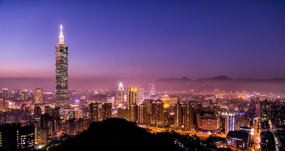 Dusk falls over Taipei