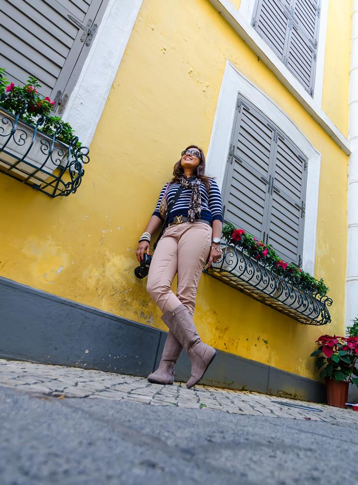 Pretty pastel walls and cobblestone streets!