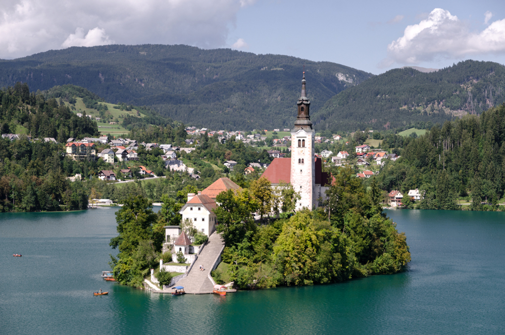 Bled Island close up from the pletna