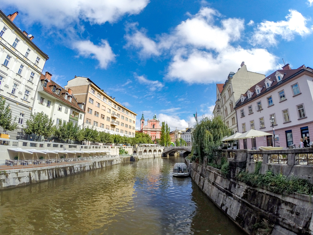 Ljubljanica River running through the  old and new Ljubljana