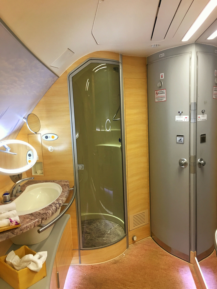 The bathroom on board the A380. Better than some hotels! #hellotomorrow!