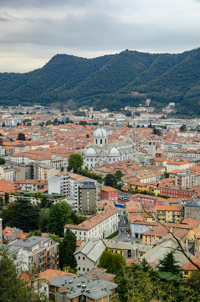 The rooftops and Cathedral of Como as seen from Brunatte
