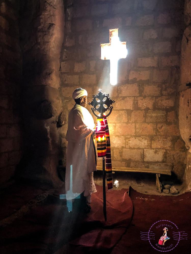 The beautiful cross shaped window at Bet Merkorios