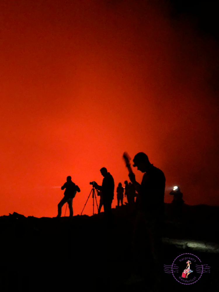 The red glow of the lava lake at the rim of Erta Ale
