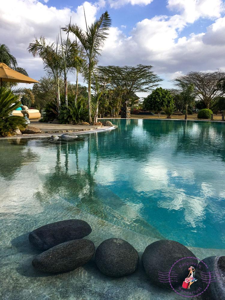 Cascading pool at Segera Ranch