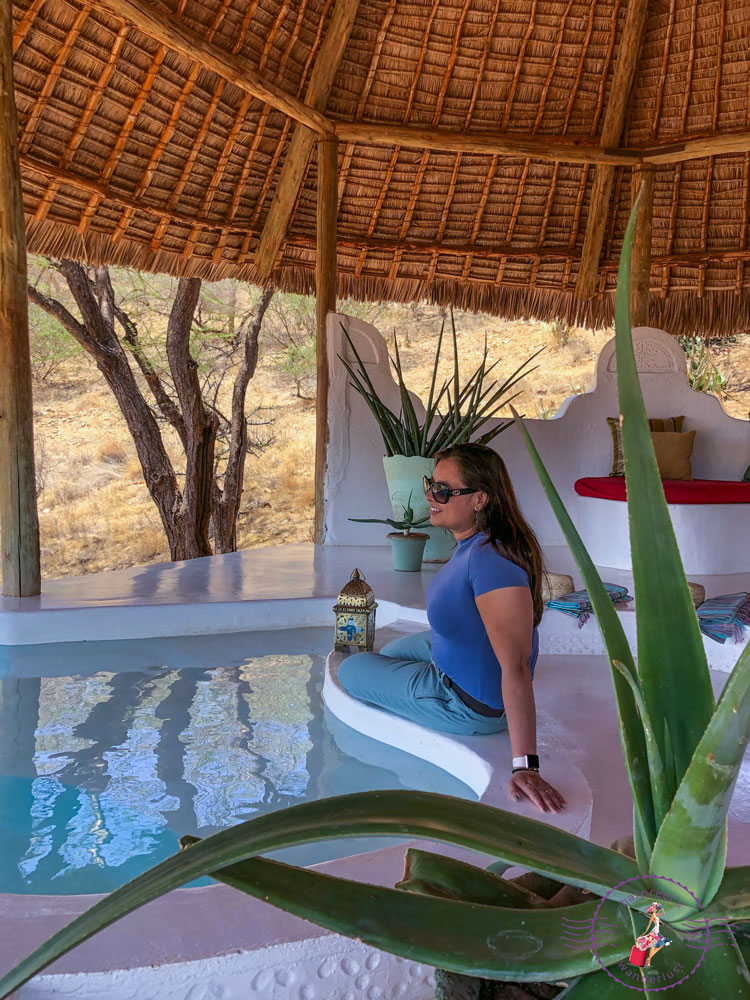Enjoying the plunge pool in our villa at Sasaab, Samburu