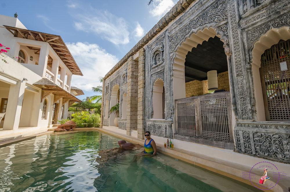 Enjoying the salt water pool at The Majlis