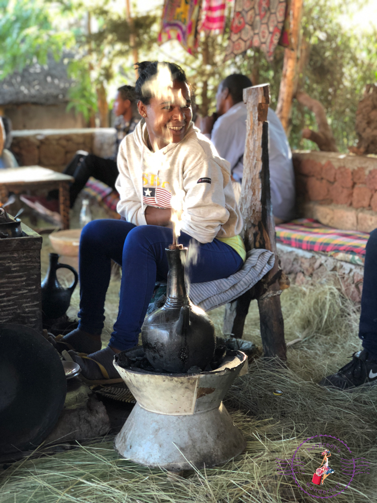 Girl and Coffee Ceremony in Ethiopia