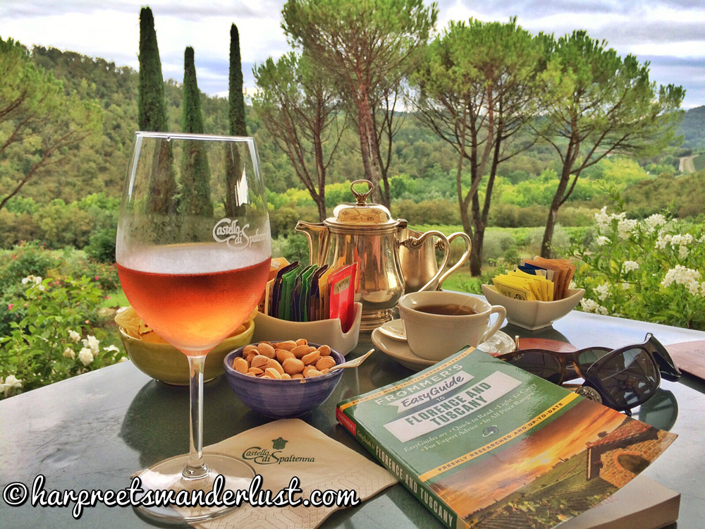 Sipping on Wine in the Olive Groves in Tuscany